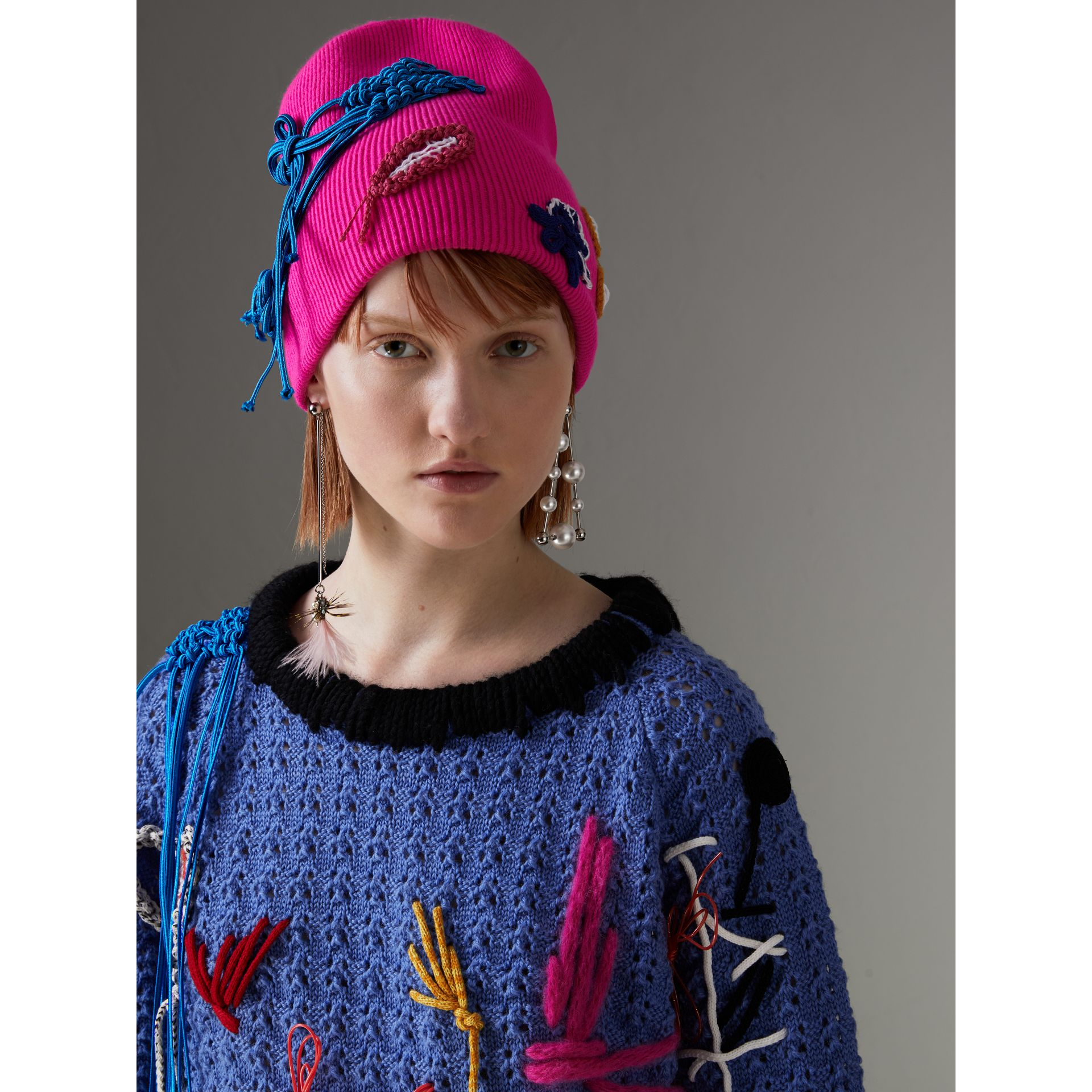 Floral Crochet Cashmere Beanie in Fuchsia Pink - Women | Burberry United Kingdom - gallery image 2