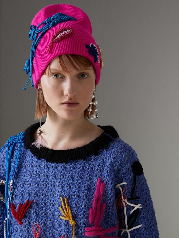 Floral Crochet Cashmere Beanie in Fuchsia Pink - Women | Burberry United Kingdom - cell image 2