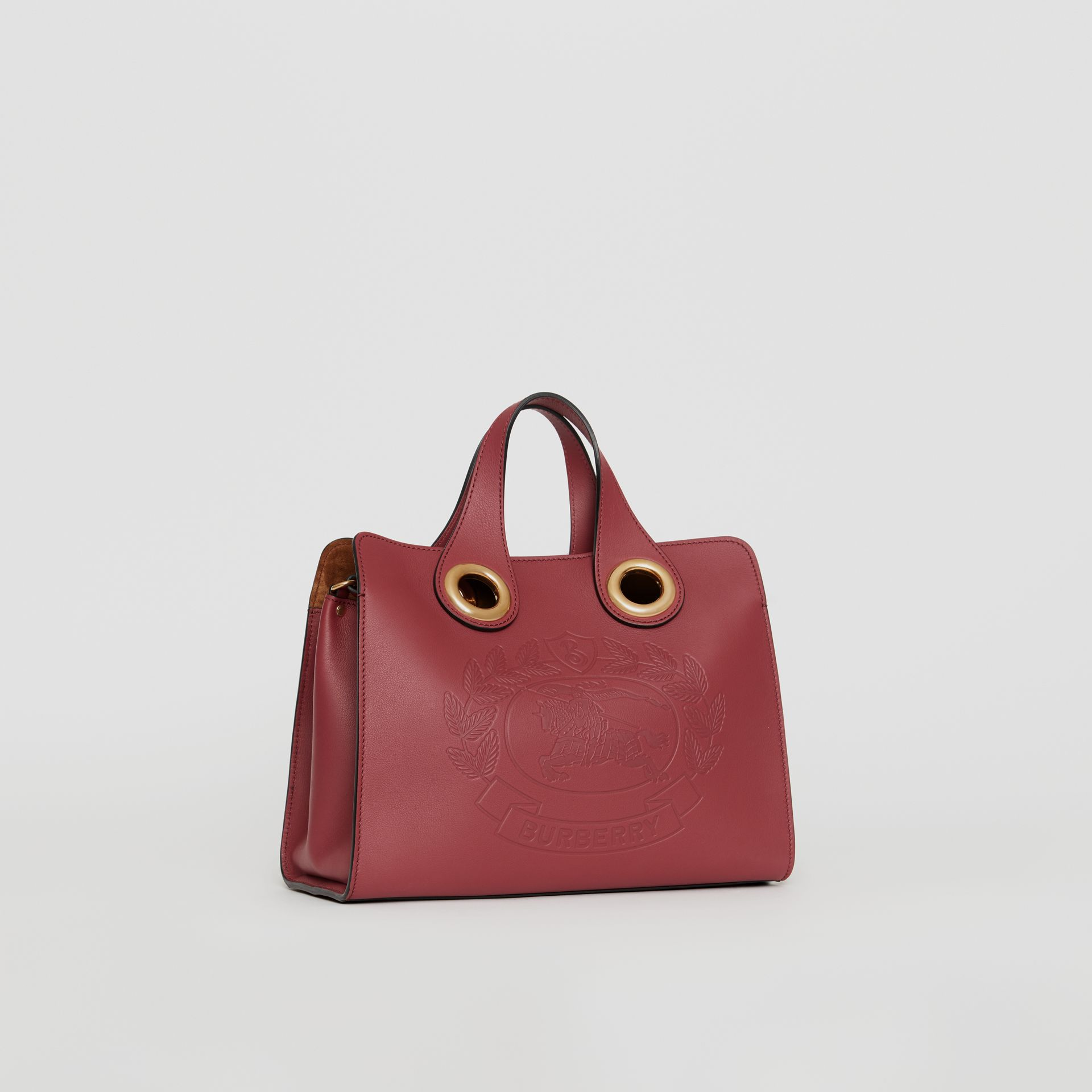 The Leather Crest Grommet Detail Tote in Crimson - Women | Burberry - gallery image 4