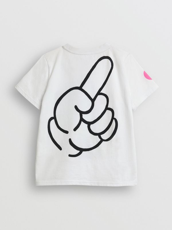 Unicorn Print Cotton T-shirt in White - Children | Burberry - cell image 3