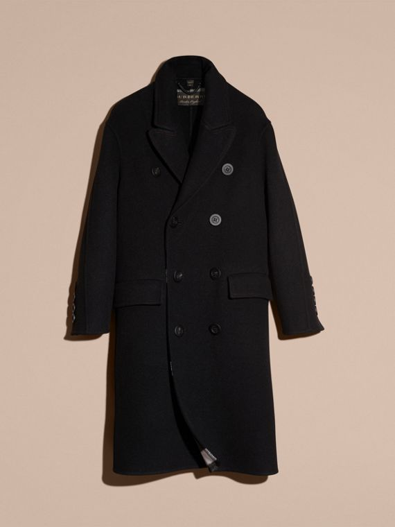 Black Double-breasted Check-lined Wool Cashmere Coat - cell image 3