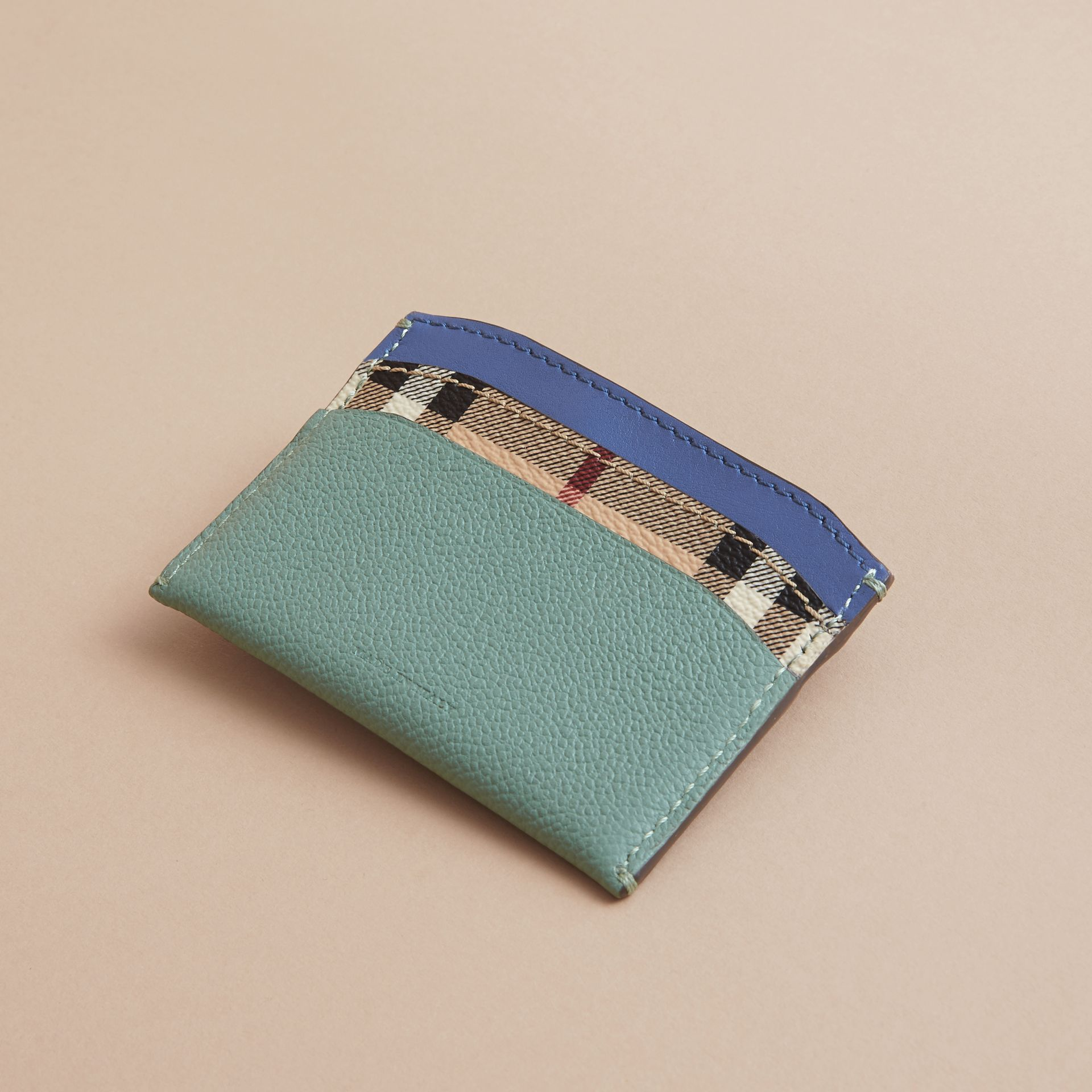 Colour Block Leather and Haymarket Check Card Case in Eucalyptus Grn/multi - Women | Burberry - gallery image 3