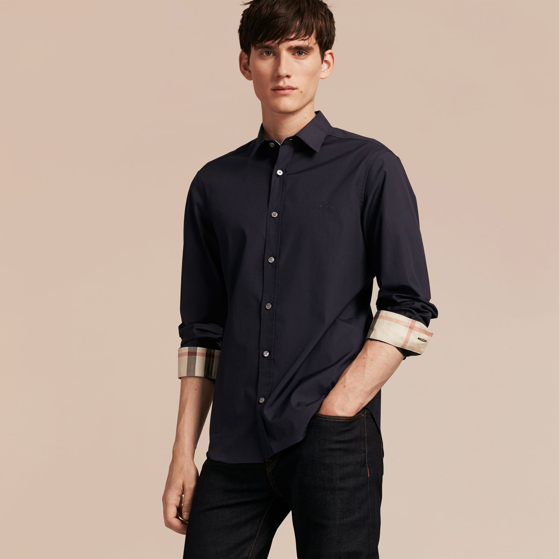Check Detail Stretch Cotton Poplin Shirt in Navy - Men | Burberry - gallery image 6