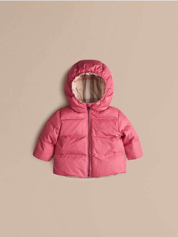 Check-Lined Puffer Jacket Camelia Pink