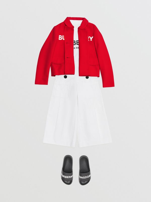 Logo Print Crepe Jersey Double-breasted Jacket in Bright Red | Burberry United Kingdom - cell image 2