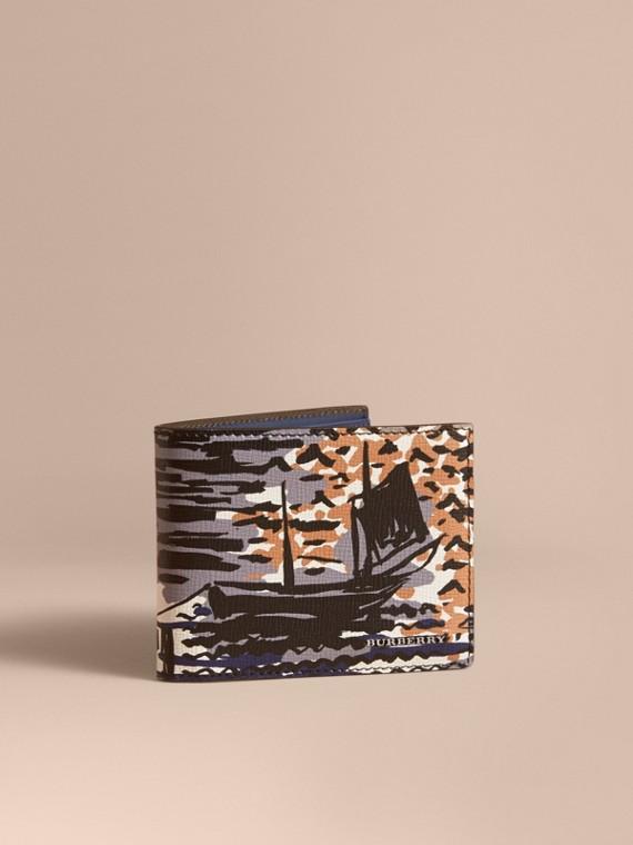 Faltbrieftasche aus Leder mit britischem Küstenmotiv Bernsteingelb