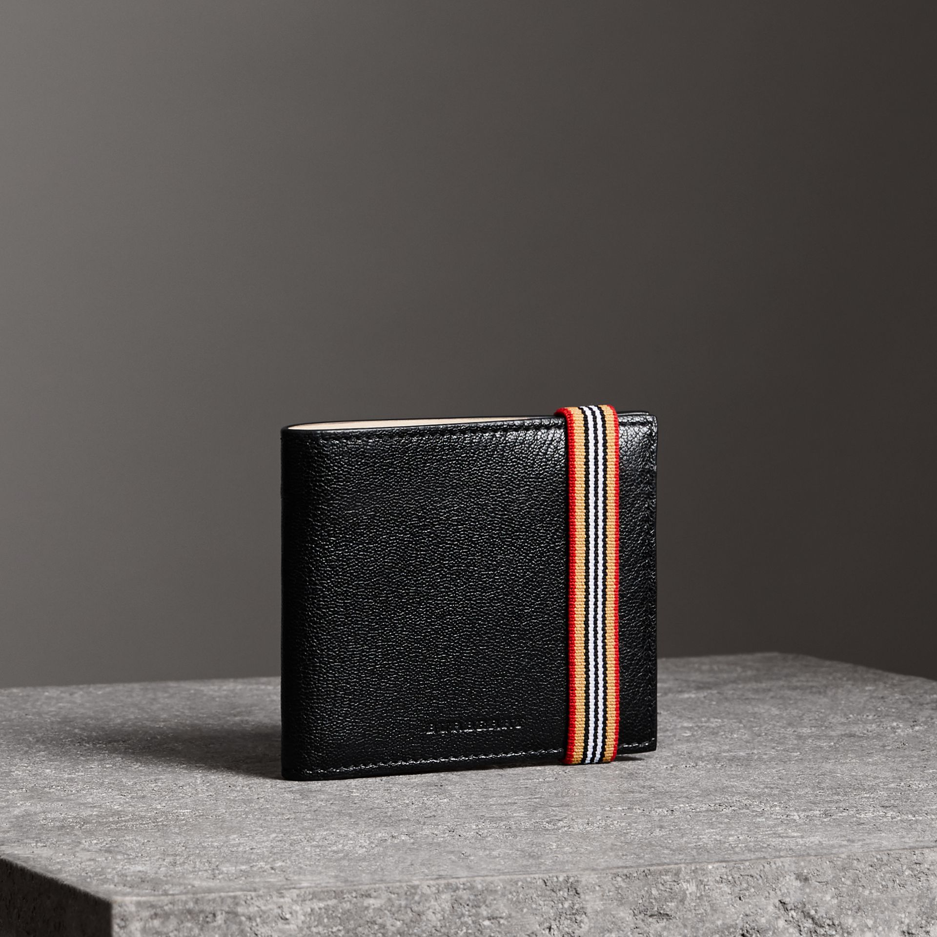Heritage Stripe Leather International Bifold Wallet in Black - Men | Burberry Canada - gallery image 0