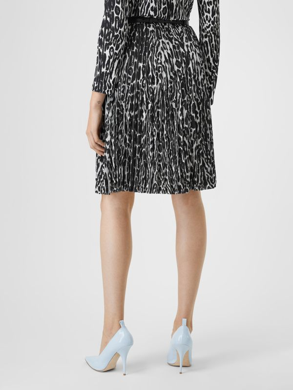 Leopard Print Pleated Skirt in Black - Women | Burberry - cell image 2