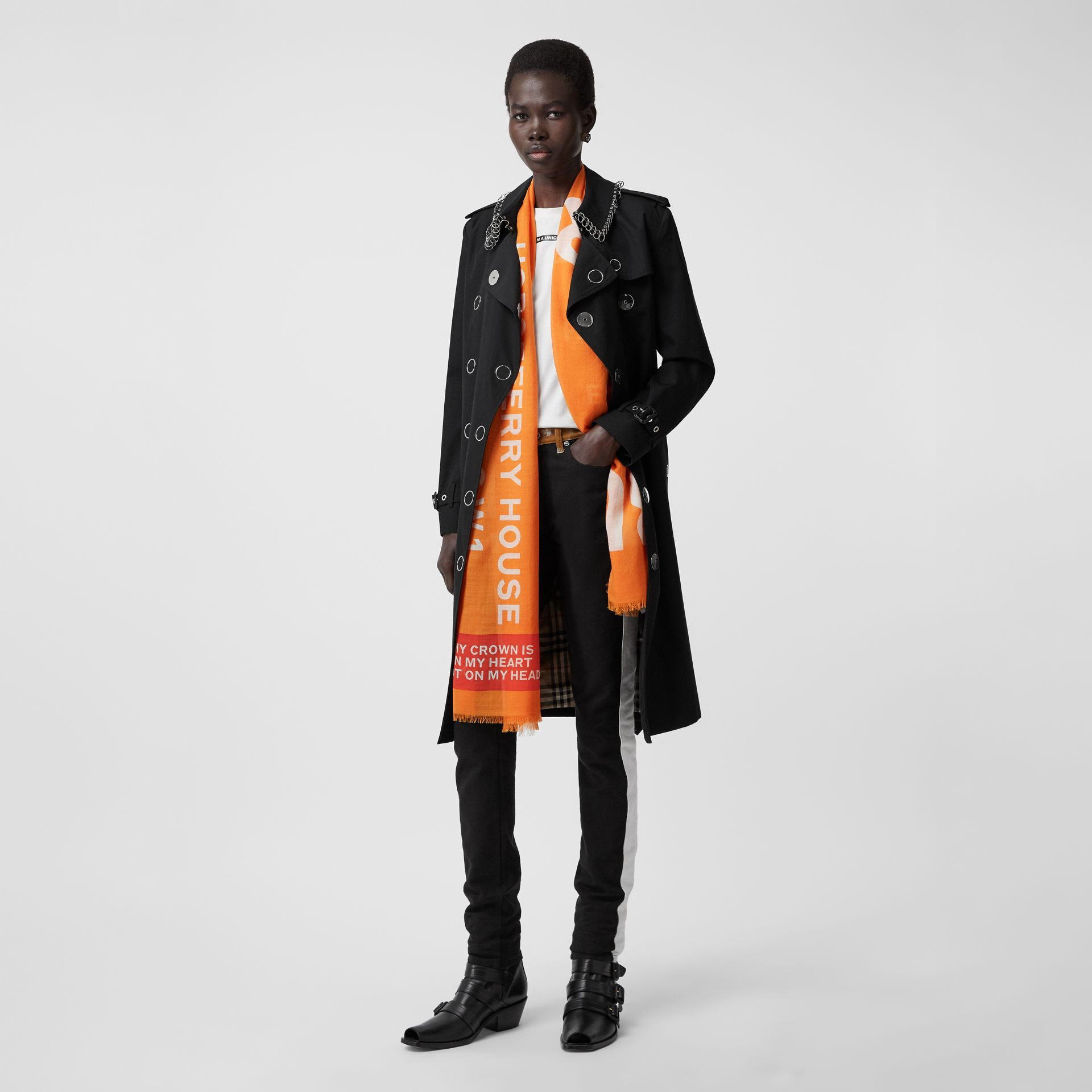 Horseferry Print Lightweight Wool Silk Scarf in Bright Orange | Burberry - gallery image 6