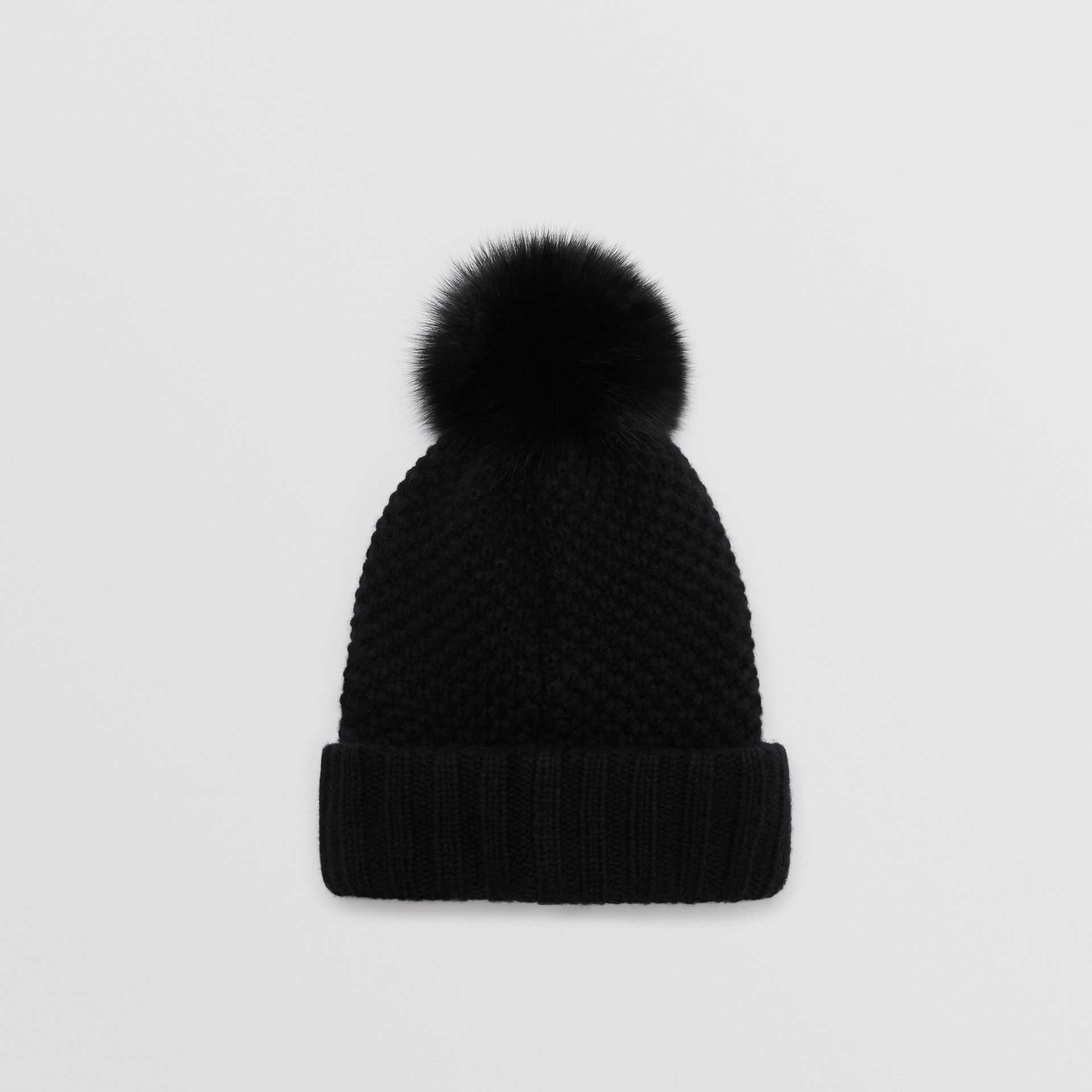 Fur Pom-Pom Beanie in Black - Women | Burberry United Kingdom - gallery image 3