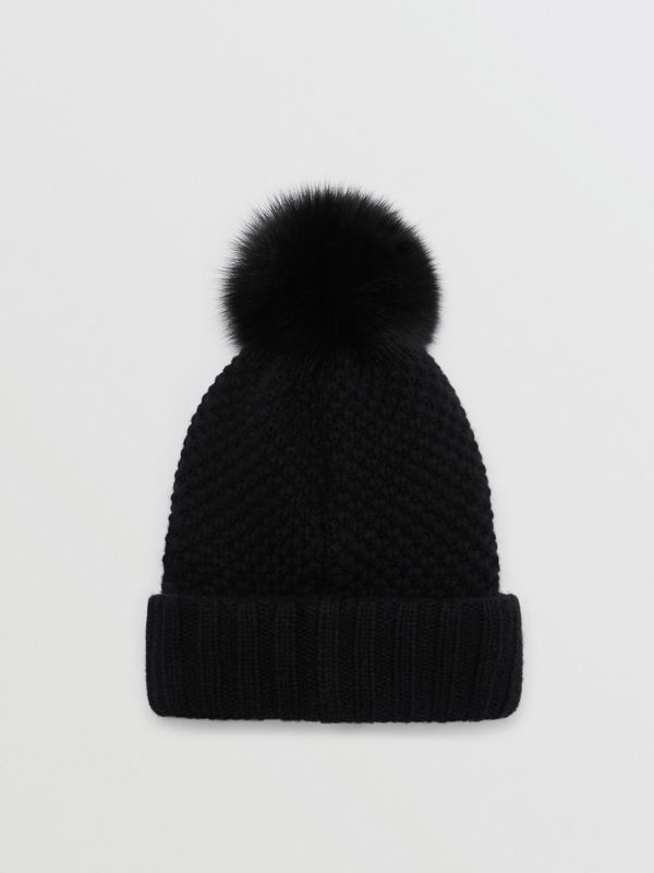 Fur Pom-Pom Beanie in Black | Burberry Singapore - cell image 3