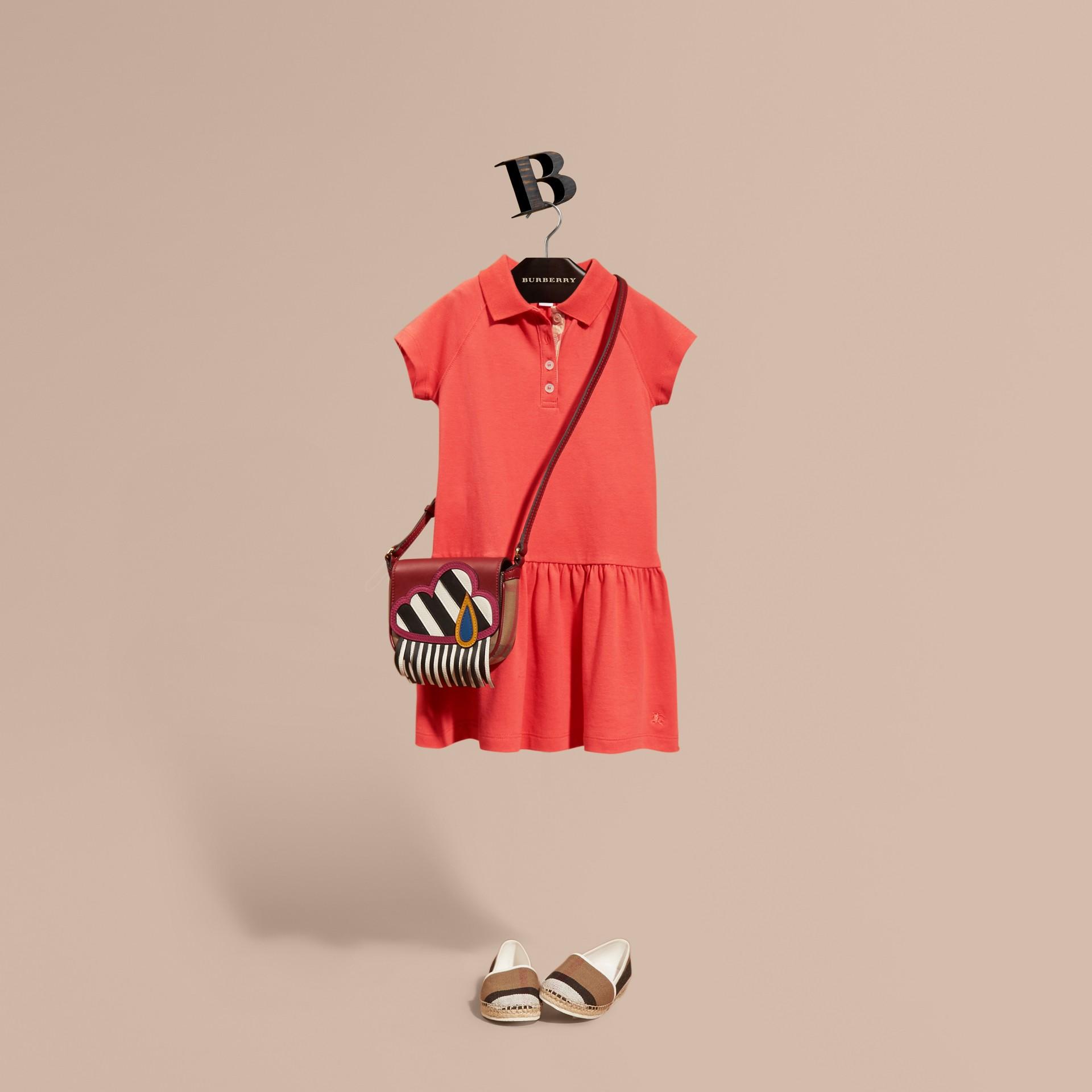 Check Placket Cotton Blend T-Shirt Dress - gallery image 1
