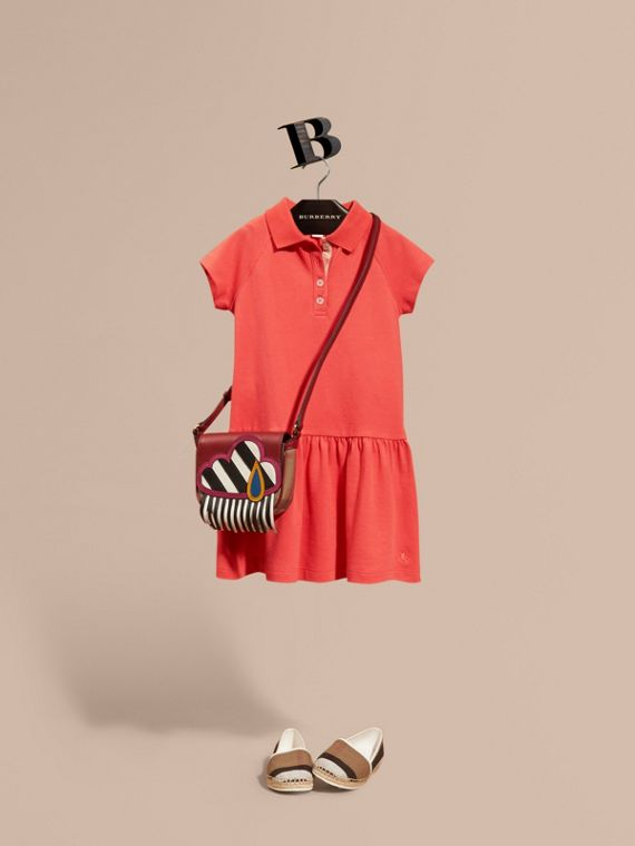 Check Placket Cotton Blend T-Shirt Dress Coral Red