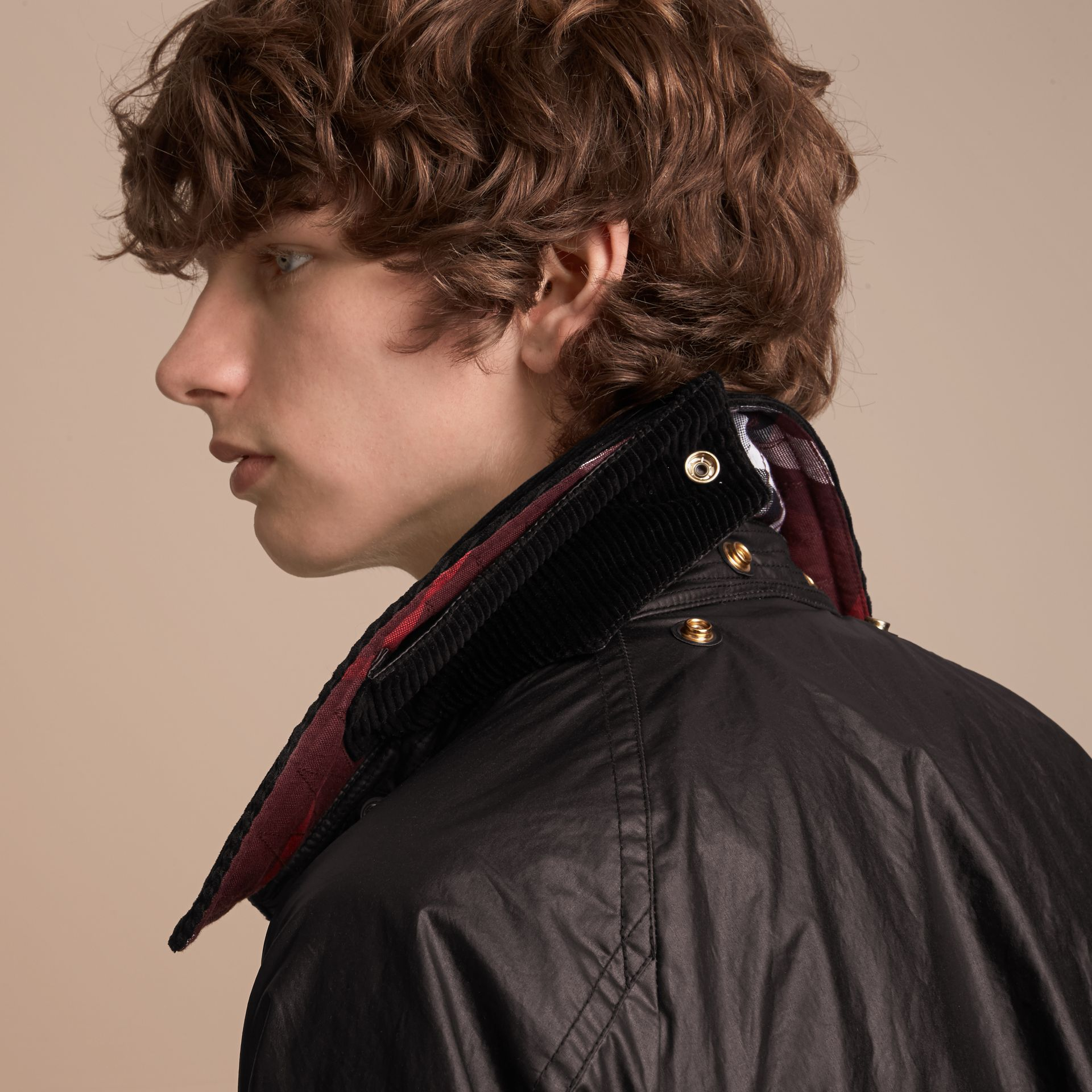 Cape Detail English-woven Waxed Cotton Field Jacket in Oxblood - Men | Burberry - gallery image 7