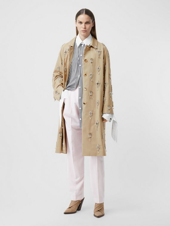 Embellished Cotton Twill Car Coat in Soft Fawn