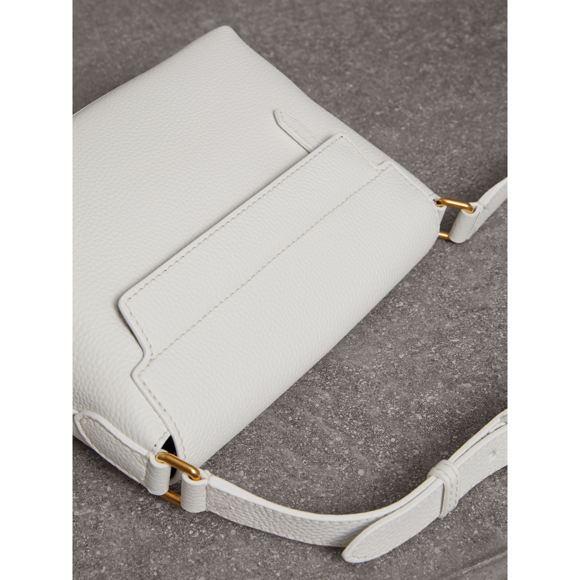 Small Embossed Leather Messenger Bag in Chalk White - Women | Burberry Singapore - gallery image 4