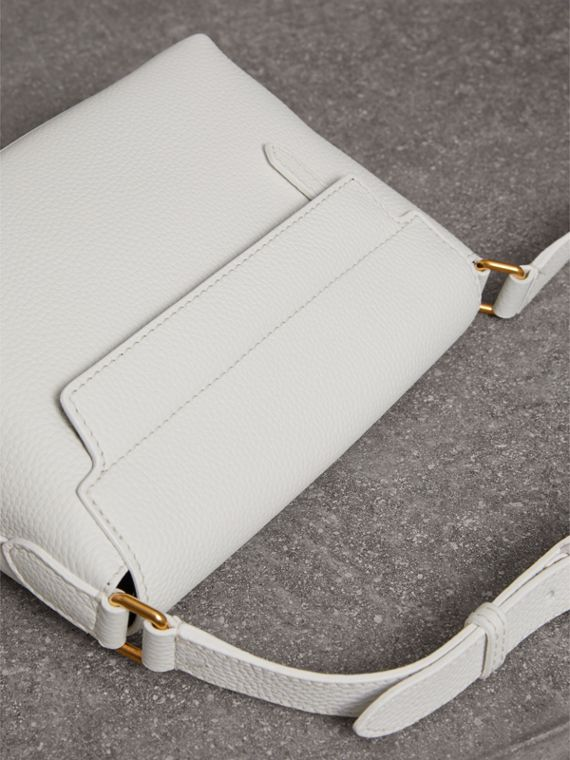 Small Embossed Leather Messenger Bag in Chalk White | Burberry - cell image 2