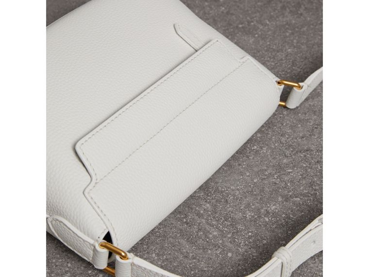Small Embossed Leather Messenger Bag in Chalk White - Women | Burberry Australia - cell image 4