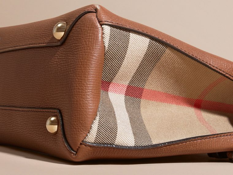 The Small Banner in Leather and House Check in Tan - Women | Burberry - cell image 1