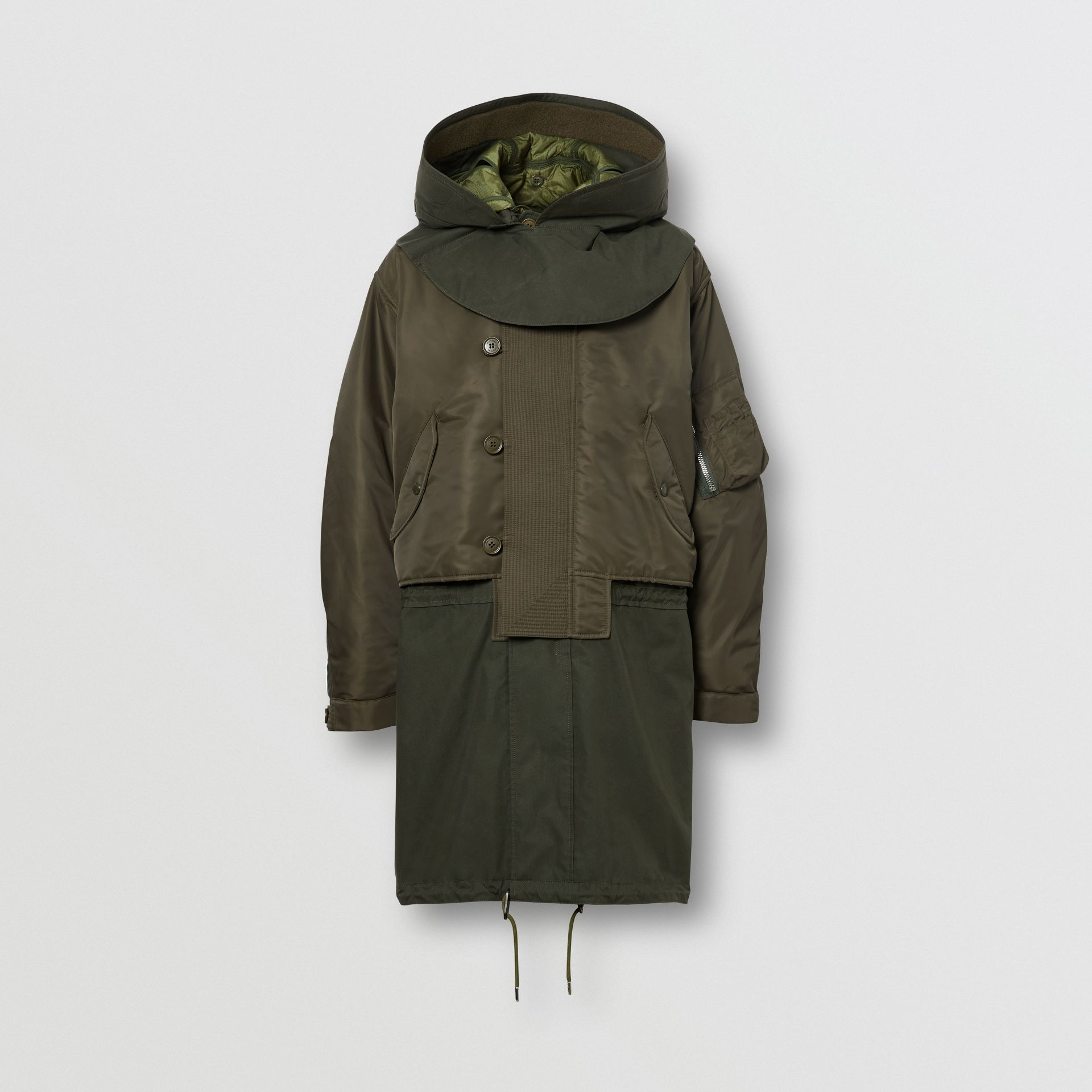 Nylon Hooded Parka with Detachable Warmer in Olive - Men | Burberry Singapore - gallery image 3