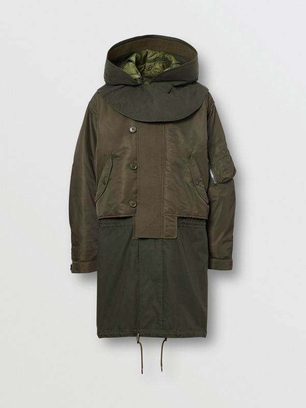 Nylon Hooded Parka with Detachable Warmer in Olive - Men | Burberry Singapore - cell image 3