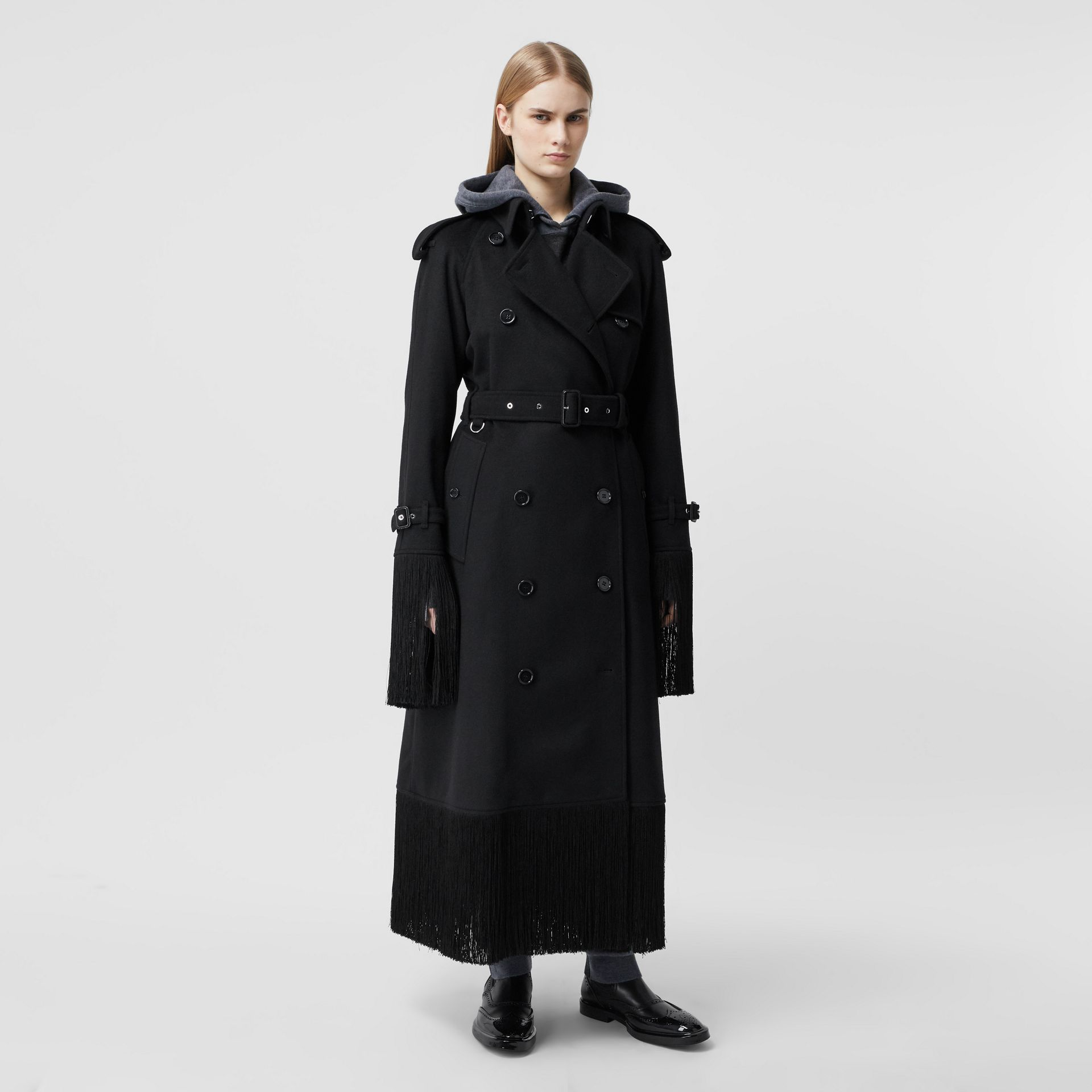 Fringed Wool Cashmere Trench Coat in Black - Women | Burberry - gallery image 6