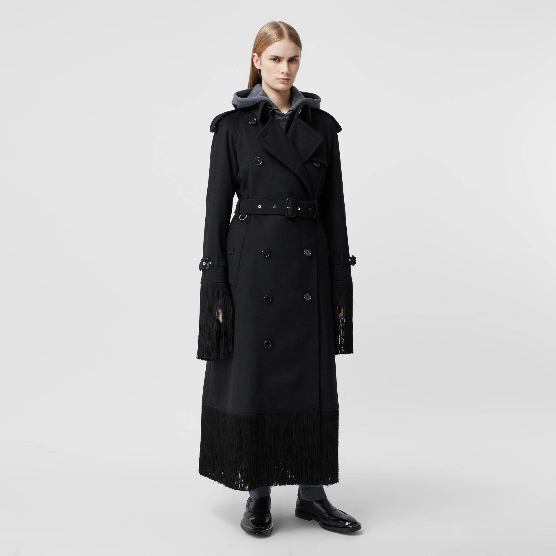 Тренч из шерсти и кашемира с бахромой (Черный) - Для женщин | Burberry - изображение 6