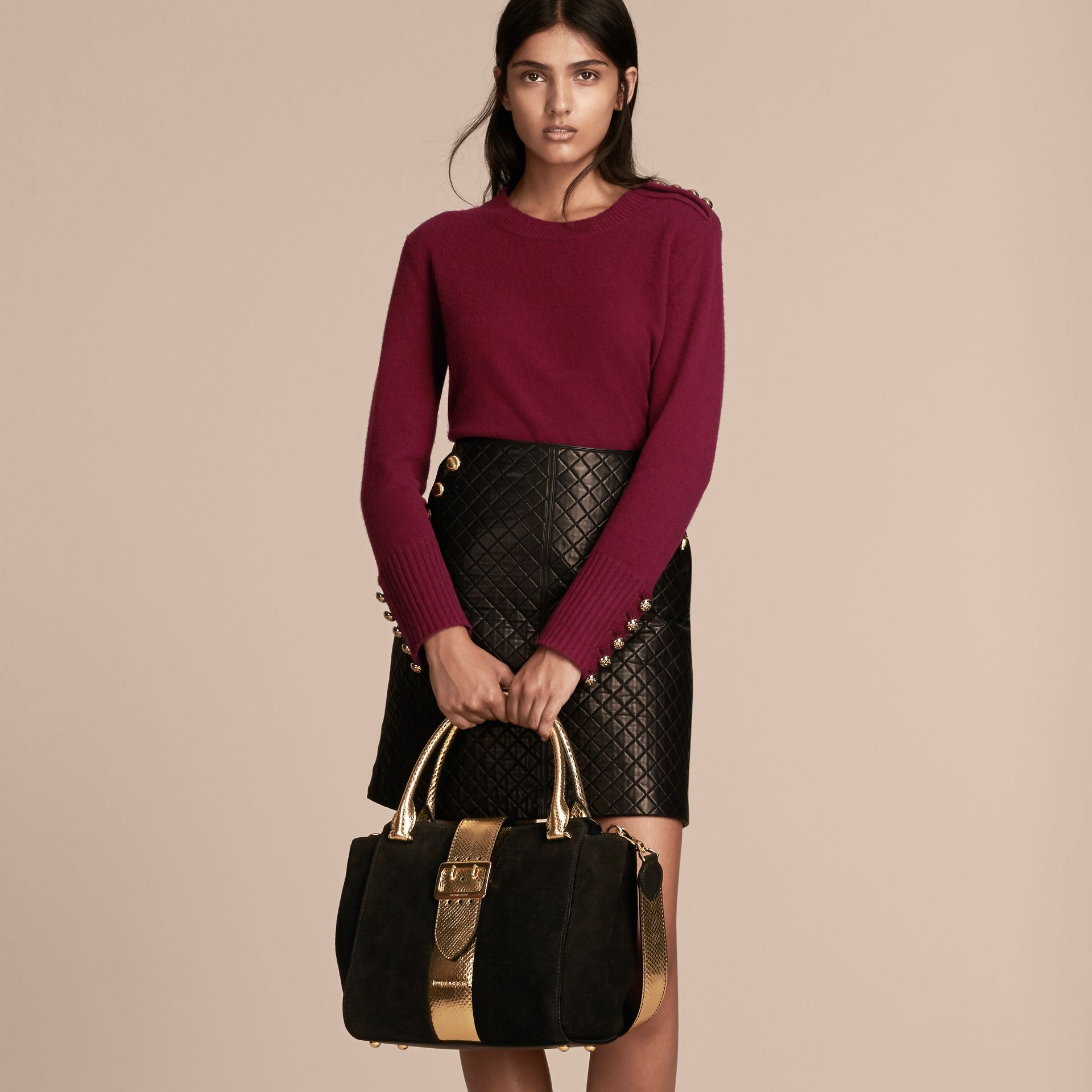 The Medium Buckle Tote in Suede and Snakeskin in Black/gold - Women | Burberry Australia - gallery image 3