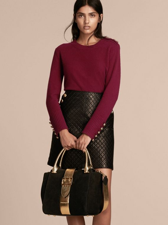 The Medium Buckle Tote in Suede and Snakeskin in Black/gold - Women | Burberry Australia - cell image 2
