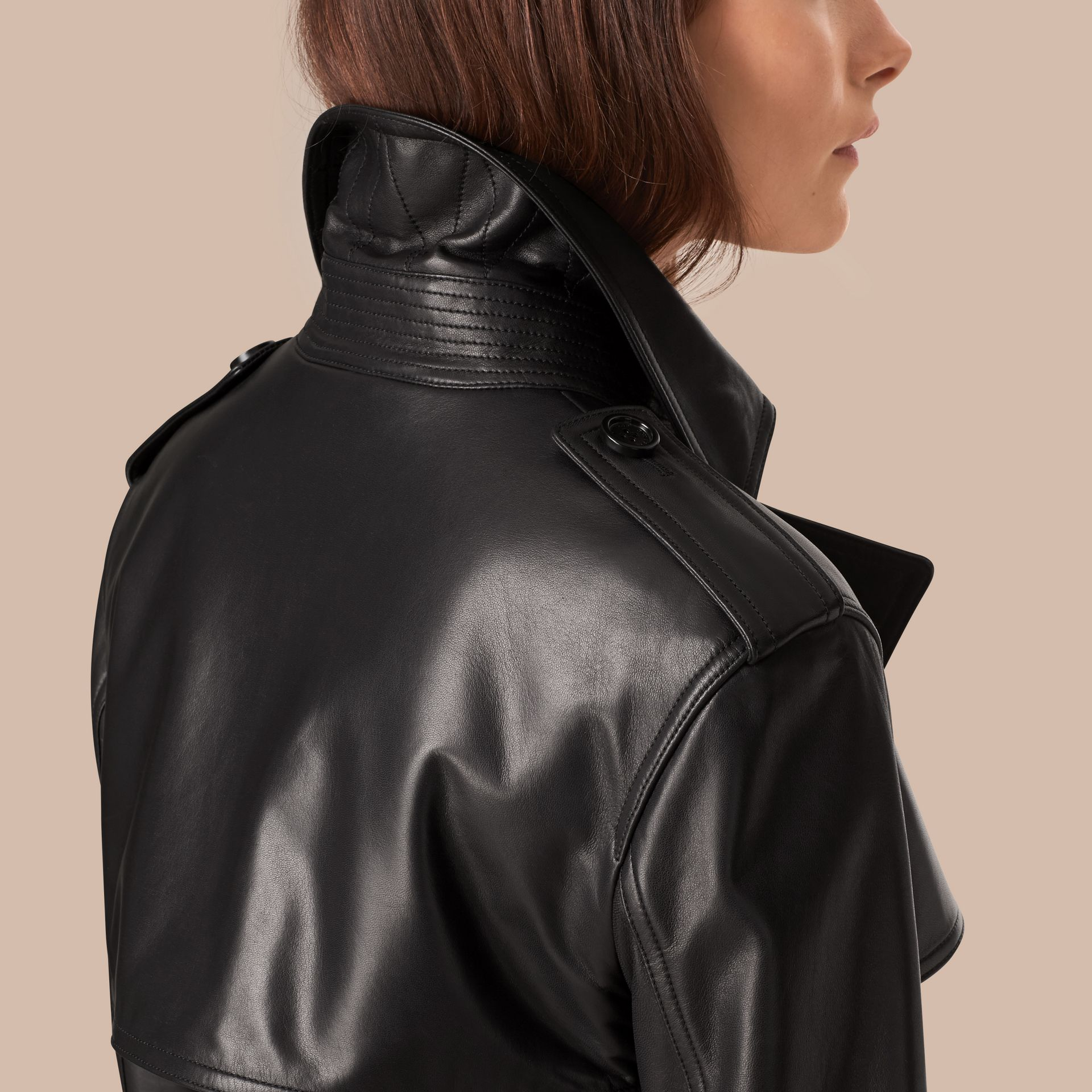 Black Oversize Wrap Lambskin Trench Coat - gallery image 5