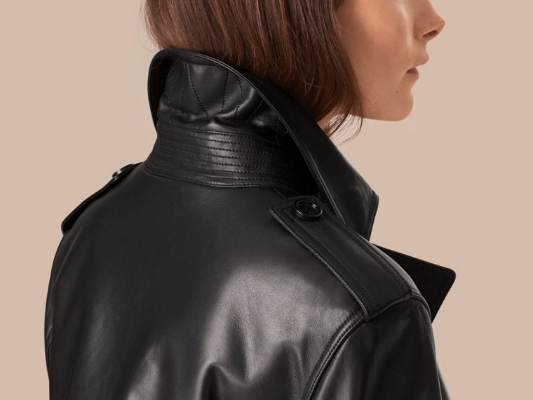 Black Oversize Wrap Lambskin Trench Coat - cell image 4