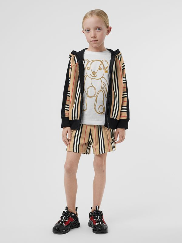 Icon Stripe Cotton Hooded Top in Archive Beige | Burberry - cell image 2