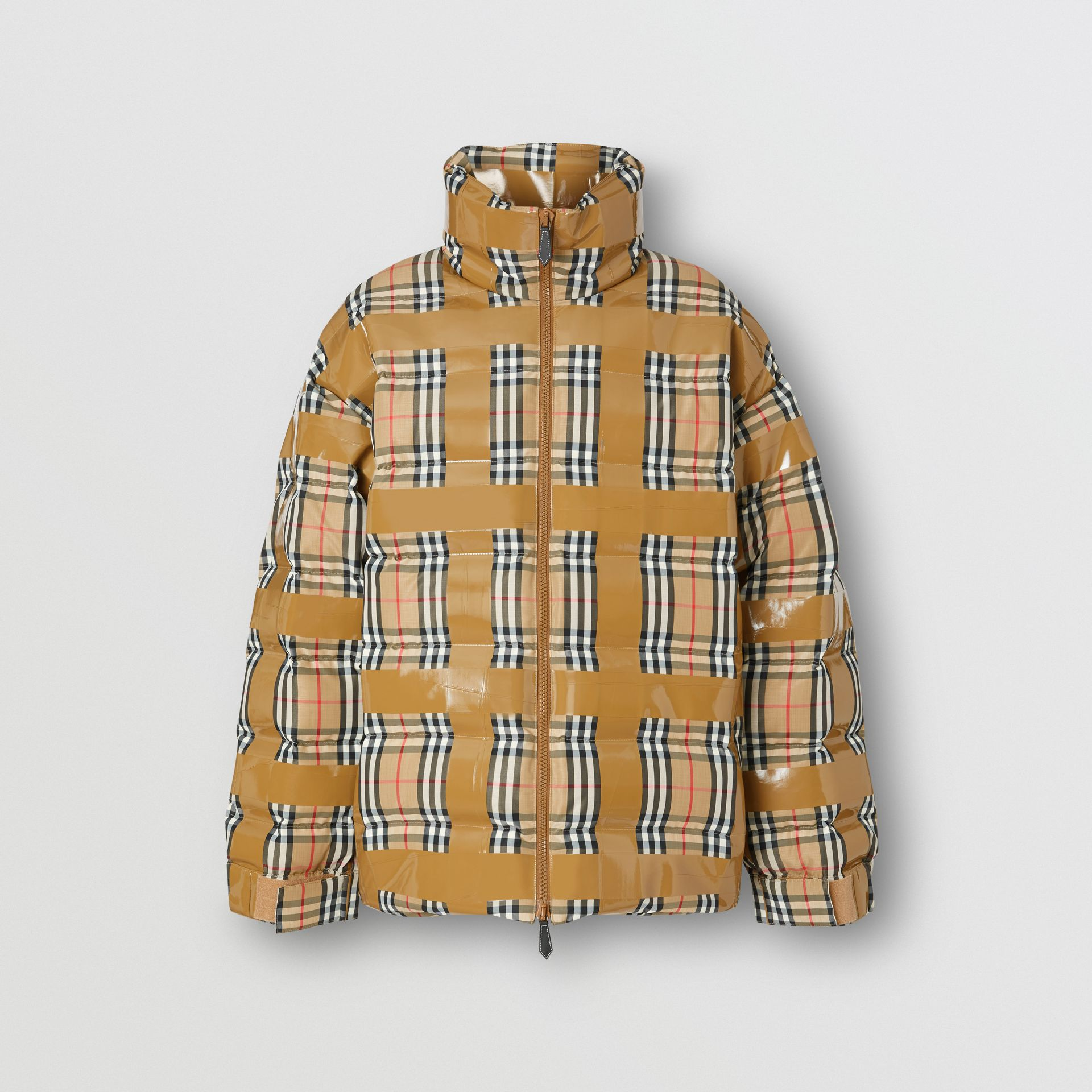 Tape Detail Vintage Check Puffer Jacket in Archive Beige - Men | Burberry - gallery image 3