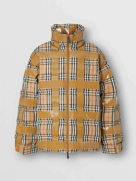 Tape Detail Vintage Check Puffer Jacket in Archive Beige