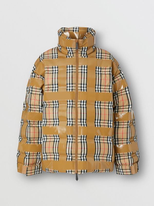 Tape Detail Vintage Check Puffer Jacket in Archive Beige - Men | Burberry Singapore - cell image 3