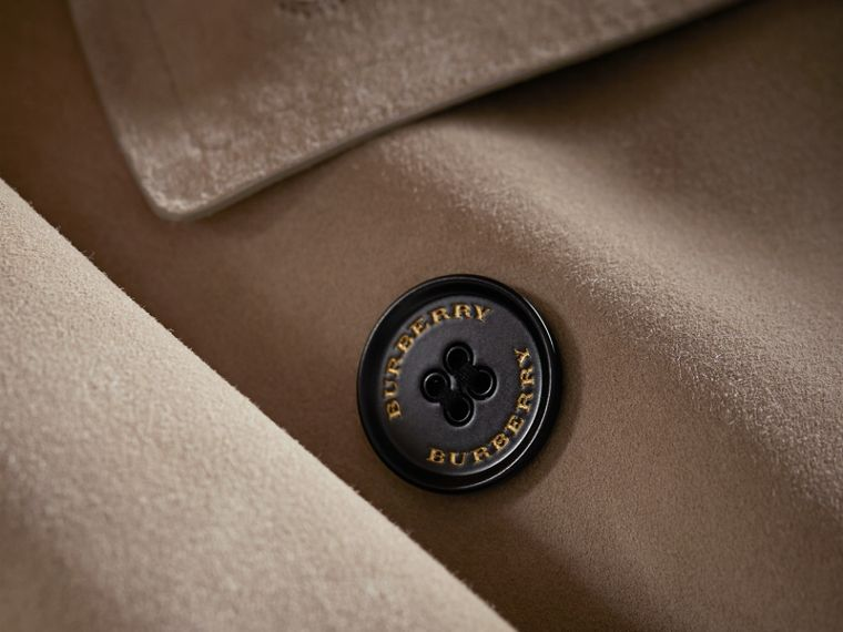 Trench coat asimmetrico in pelle scamosciata - Donna | Burberry - cell image 1