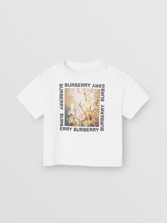 Chandelier Print Cotton T-shirt in White