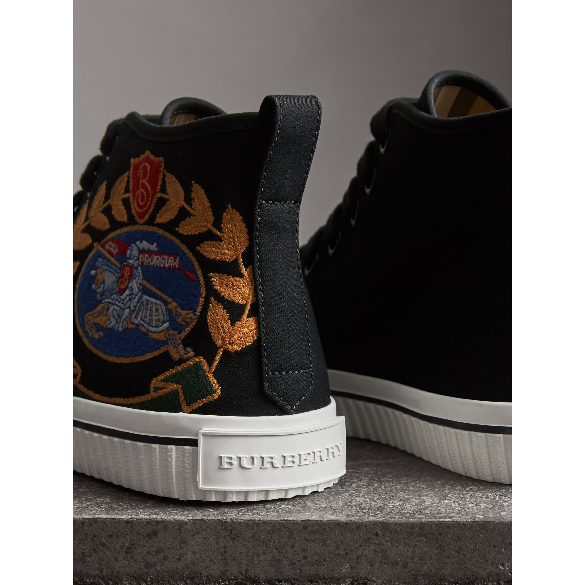 Embroidered Archive Logo High-top Sneakers in Black - Women | Burberry Singapore - gallery image 2