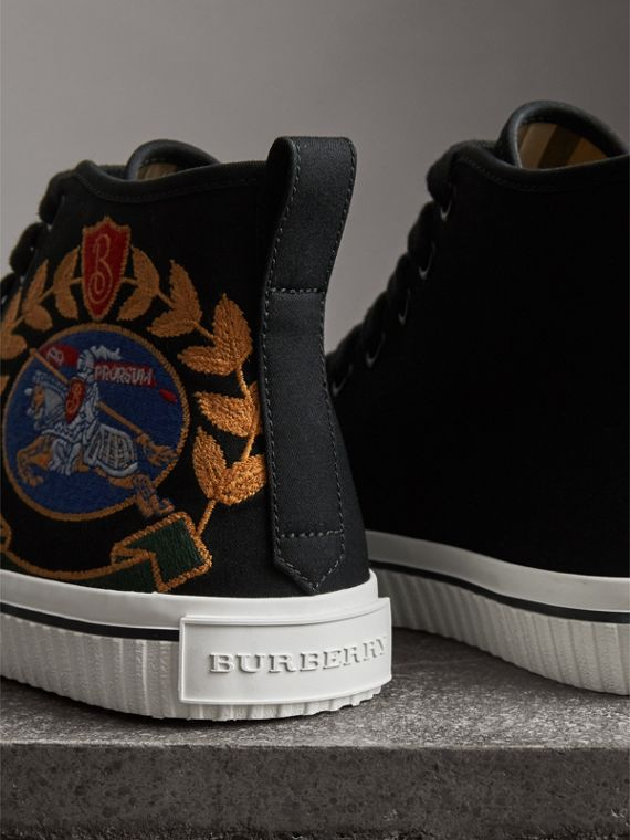 Embroidered Archive Logo High-top Sneakers in Black - Women | Burberry Hong Kong - cell image 2