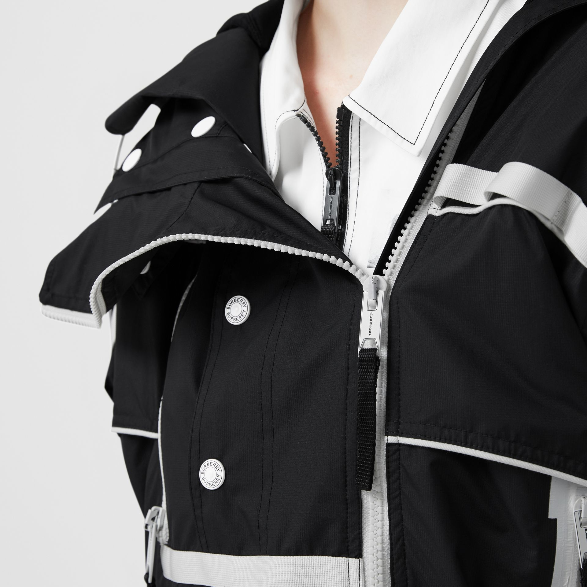 Two-tone Nylon Reconstructed Track Jacket in Black - Women | Burberry - gallery image 1