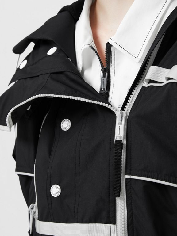 Two-tone Nylon Reconstructed Track Jacket in Black - Women | Burberry - cell image 1