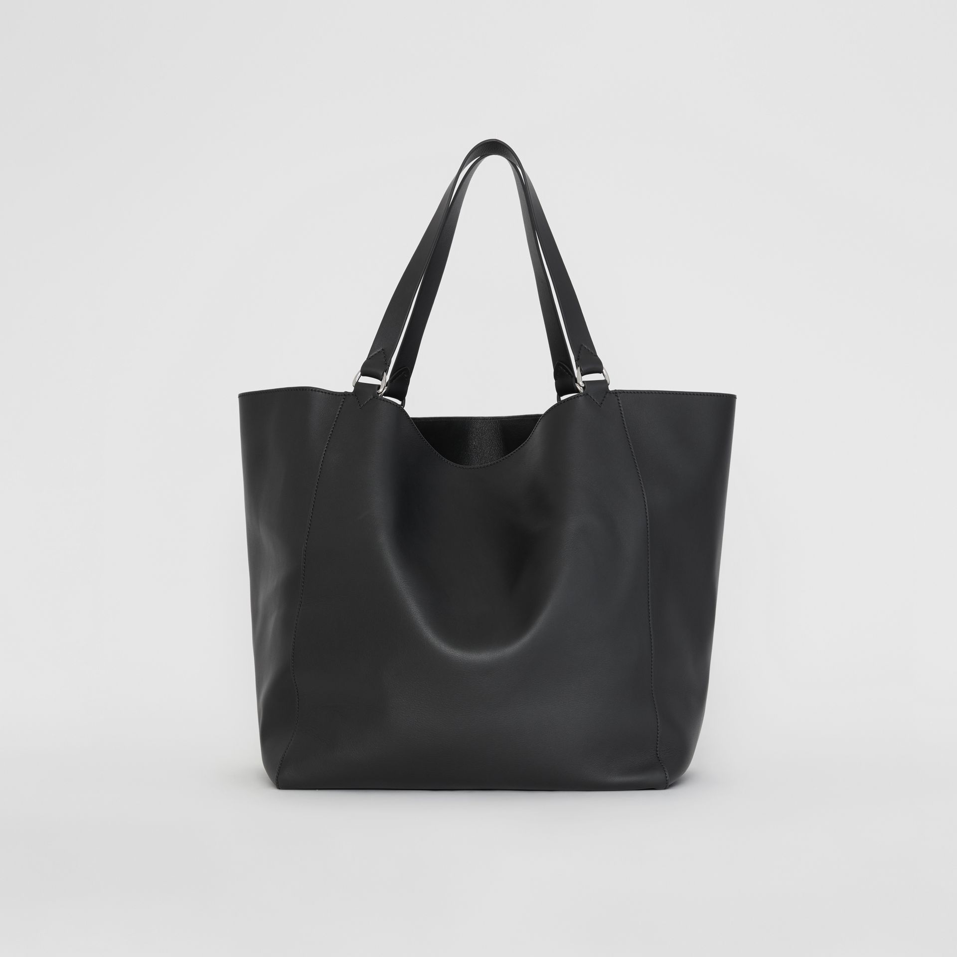 Large Embossed Crest Bonded Leather Tote in Black | Burberry - gallery image 7