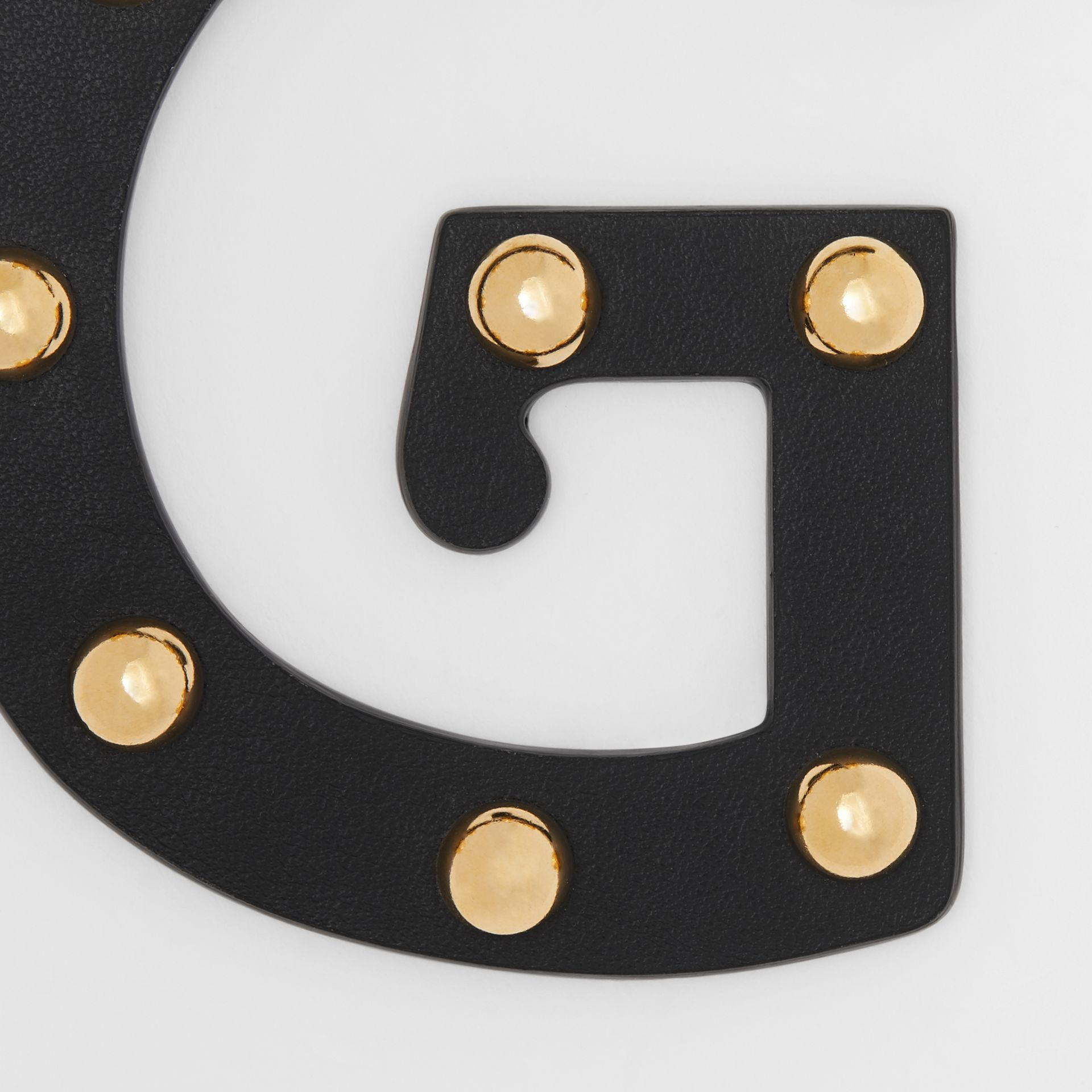 'G' Studded Leather Alphabet Charm in Black/light Gold - Women | Burberry Hong Kong S.A.R - gallery image 1