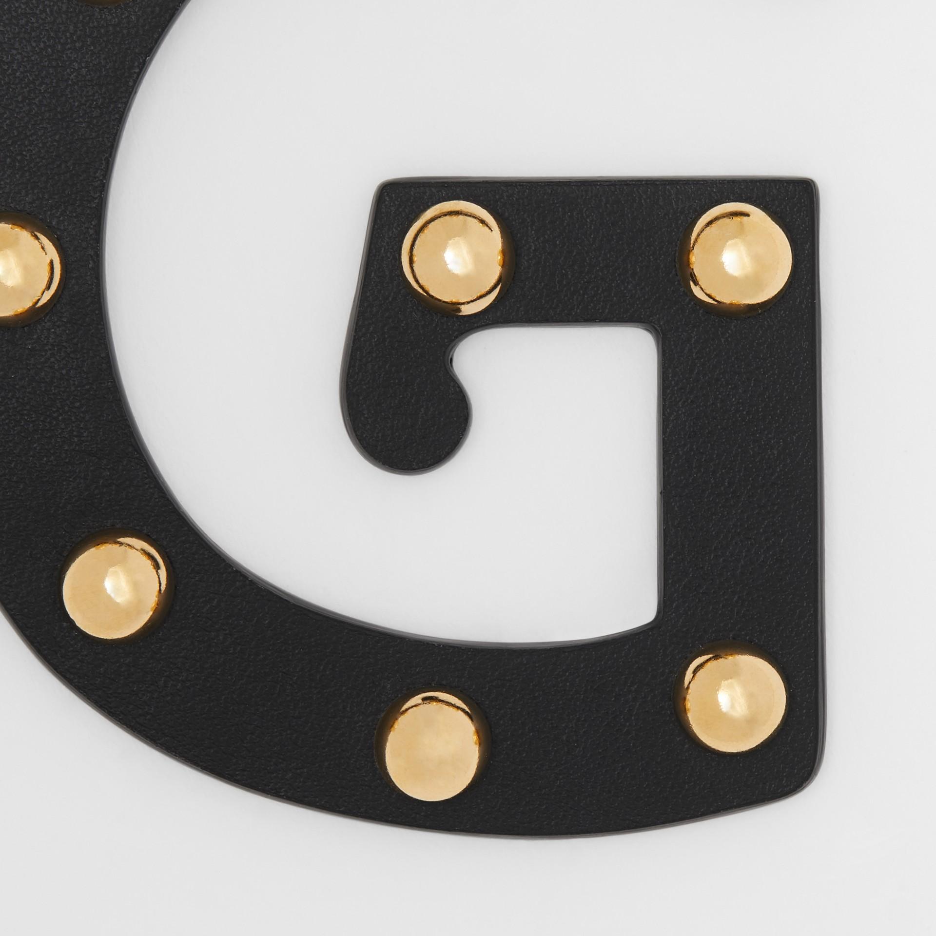 'G' Studded Leather Alphabet Charm in Black/light Gold - Women | Burberry Australia - gallery image 1