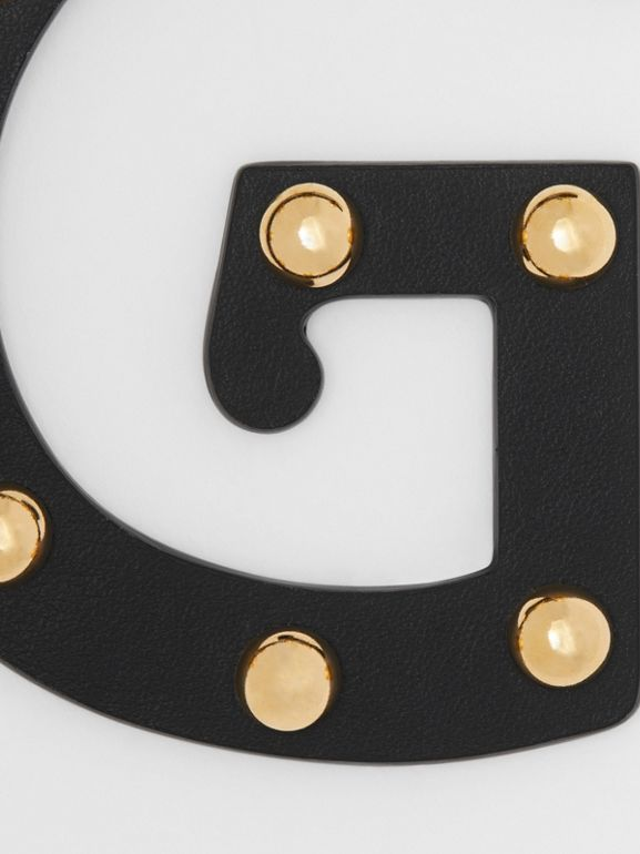 'G' Studded Leather Alphabet Charm in Black/light Gold - Women | Burberry Hong Kong S.A.R - cell image 1