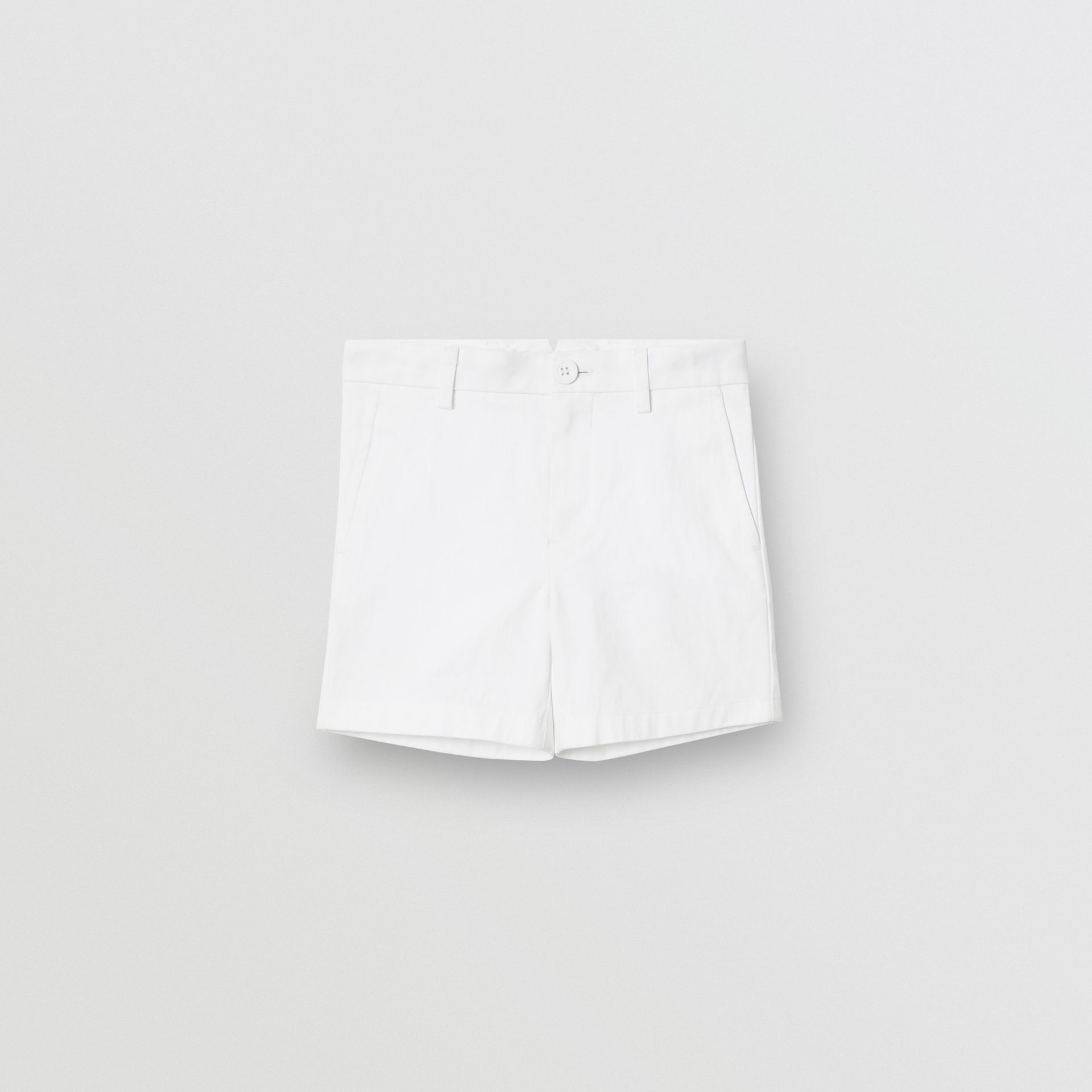 Cotton Chino Shorts in Optic White - Children | Burberry - gallery image 0