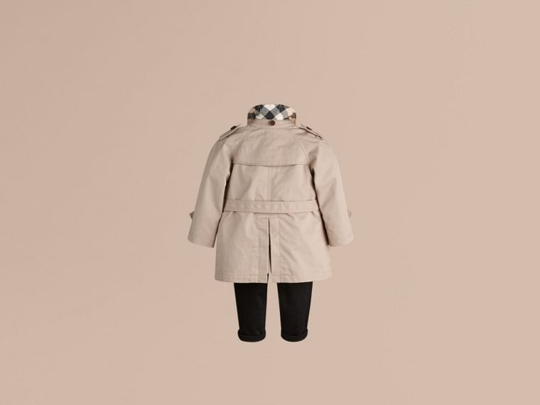 Hooded Cotton Twill Trench Coat in Taupe - Boy | Burberry - cell image 2