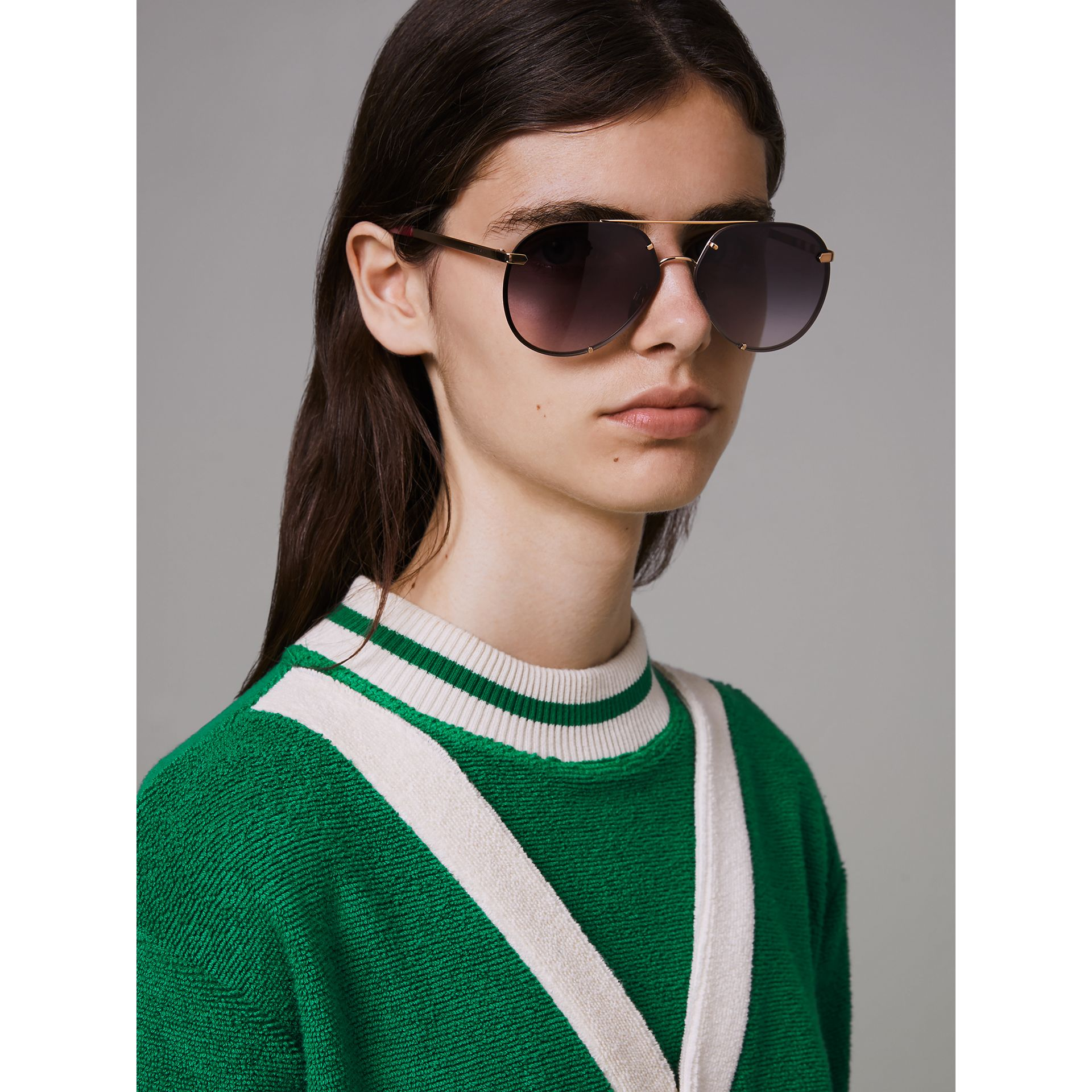 Check Detail Pilot Sunglasses in Purple - Women | Burberry - gallery image 2
