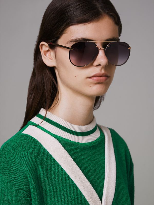 Check Detail Pilot Sunglasses in Purple - Women | Burberry - cell image 2