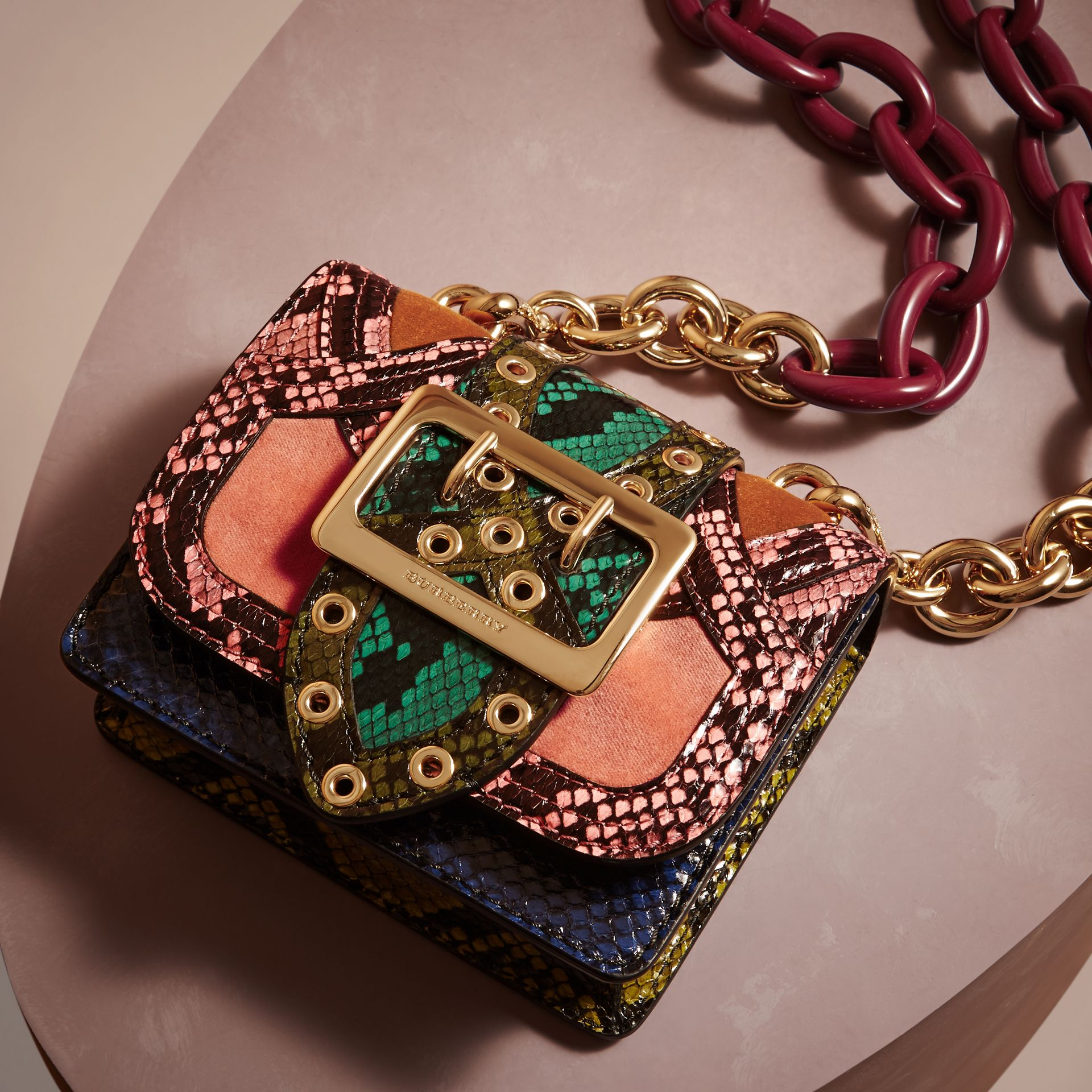 The Mini Square Buckle Bag in Snakeskin and Velvet - gallery image 6
